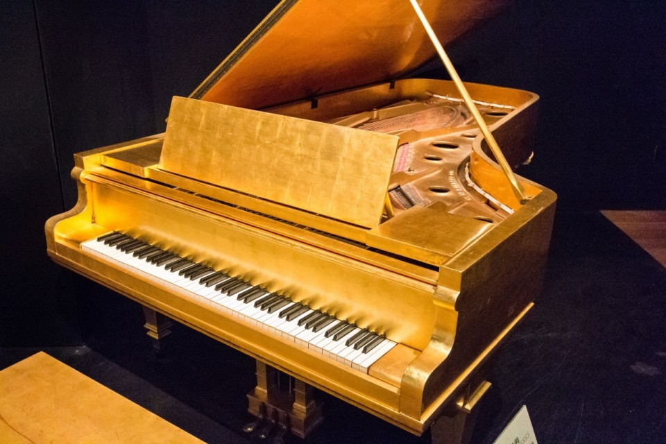 Elvis Presley's golden piano at Country Music Hall of Fame