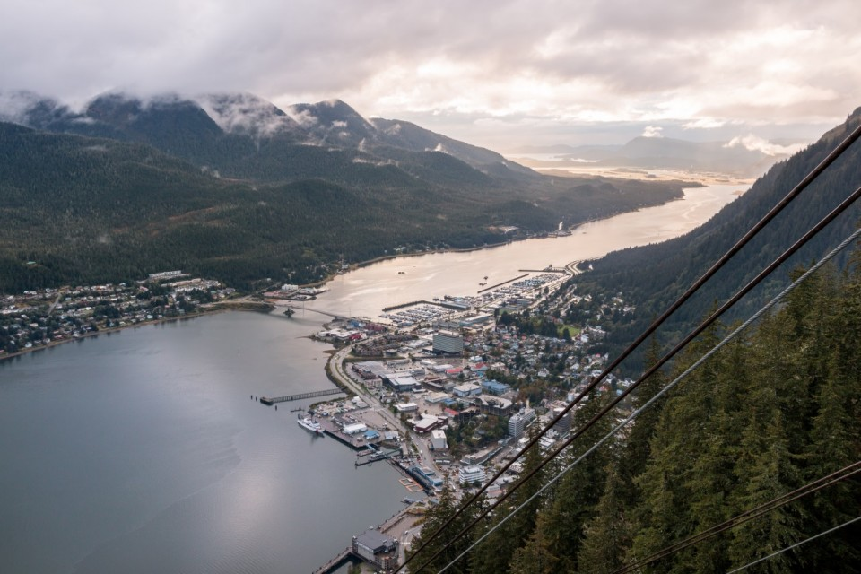 View of Juneau from the top of Goldbelt Mount Roberts Tramway