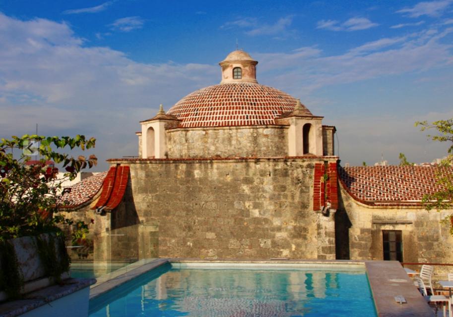 Rooftop bar and church, hotel Billini, santo domingo, dominican republich