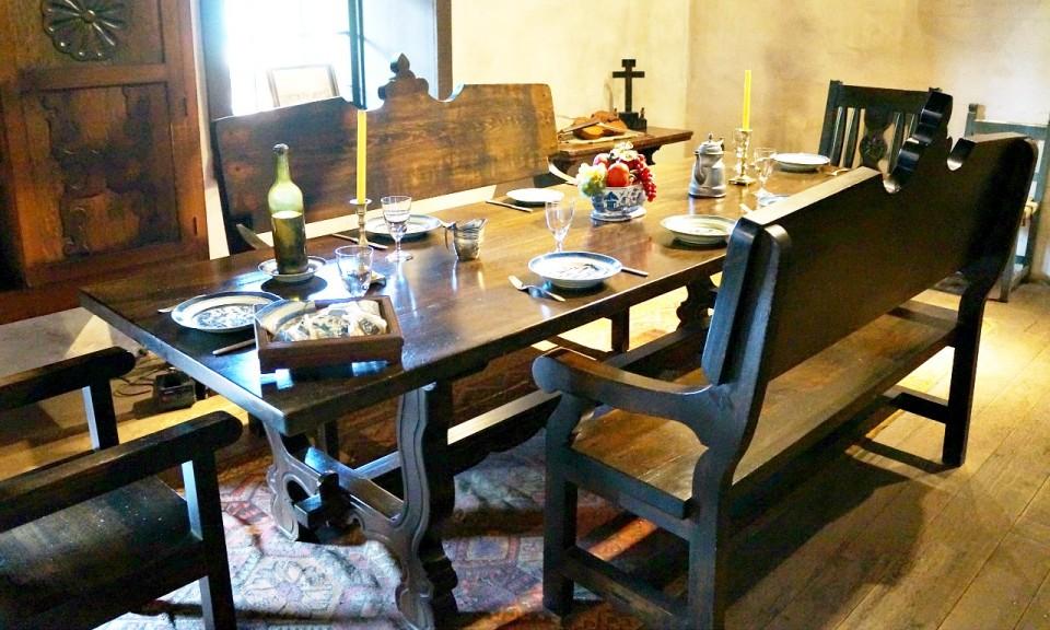 Dining room inside Avila Adobe // Travelocity.com