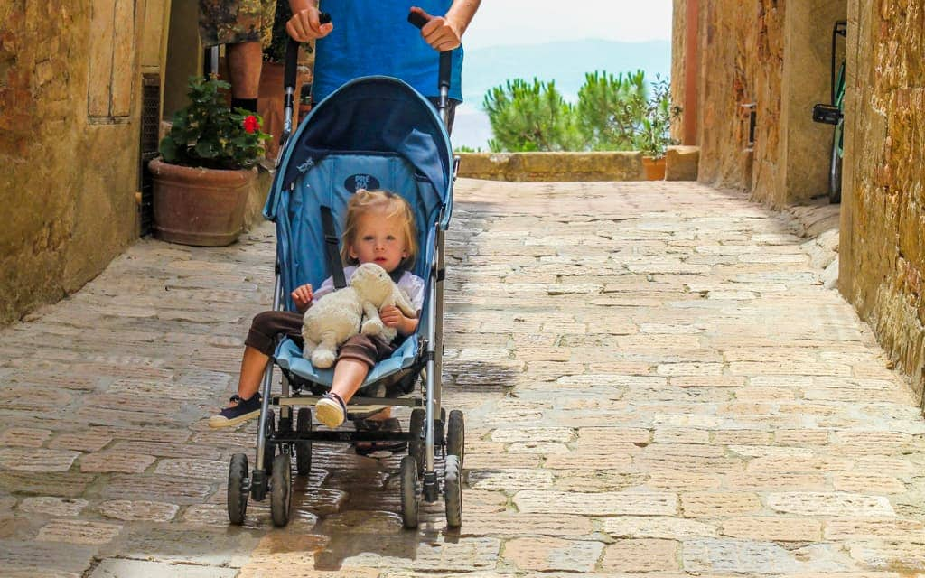 Europe travel tips - Our inexpensive stroller that we purchased and then left behind in Italy one summer