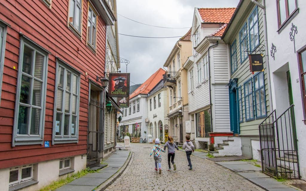Europe travel tips - In Bergen, Norway. Let your kids run and have fun!