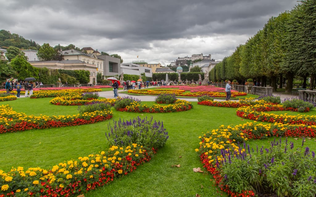 Kid-friendly Europe - The gardens of Mirabell Palace, with Hohensalzburg Castle in the distance