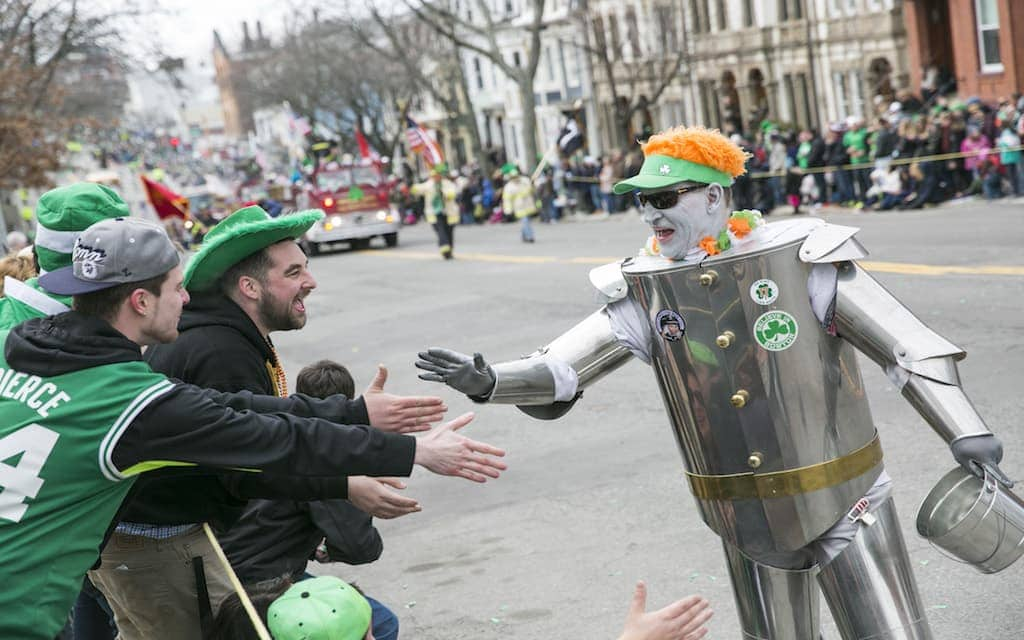 Revelers at the St. Patrick's Day Parade in Boston