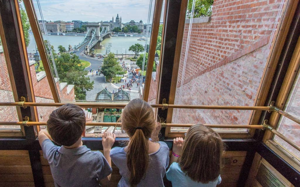 Kid-friendly Europe: On the Castle Hill Funicular, overlooking the Chain Bridge
