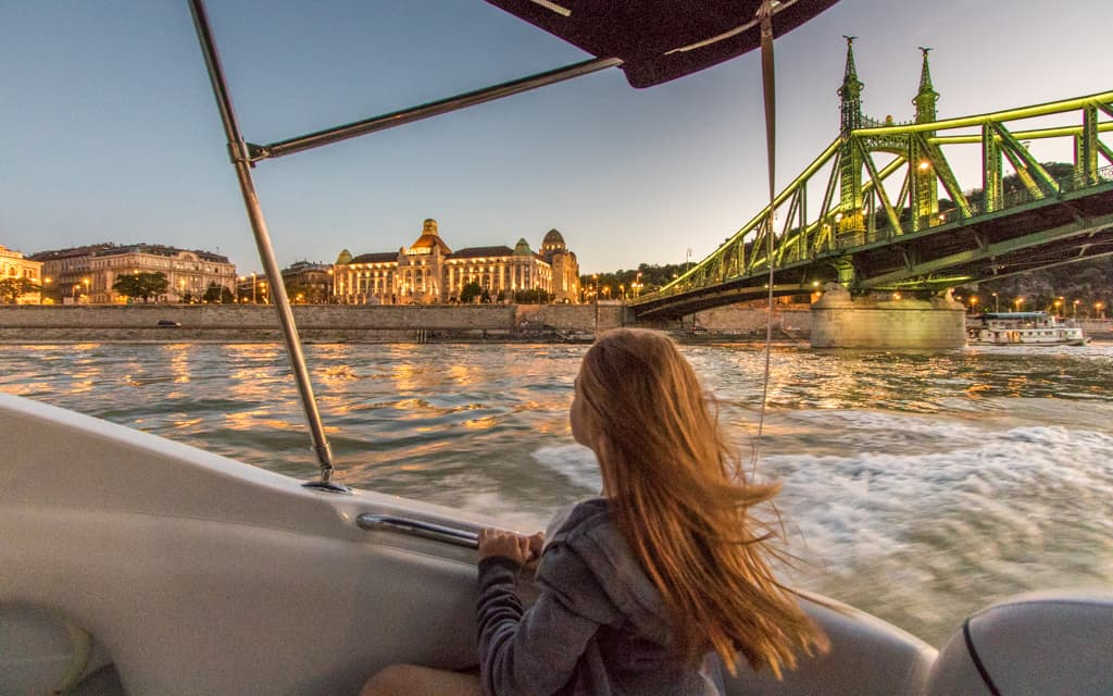 Kid-friendly Europe:On our sunset speedboat ride on the Danube