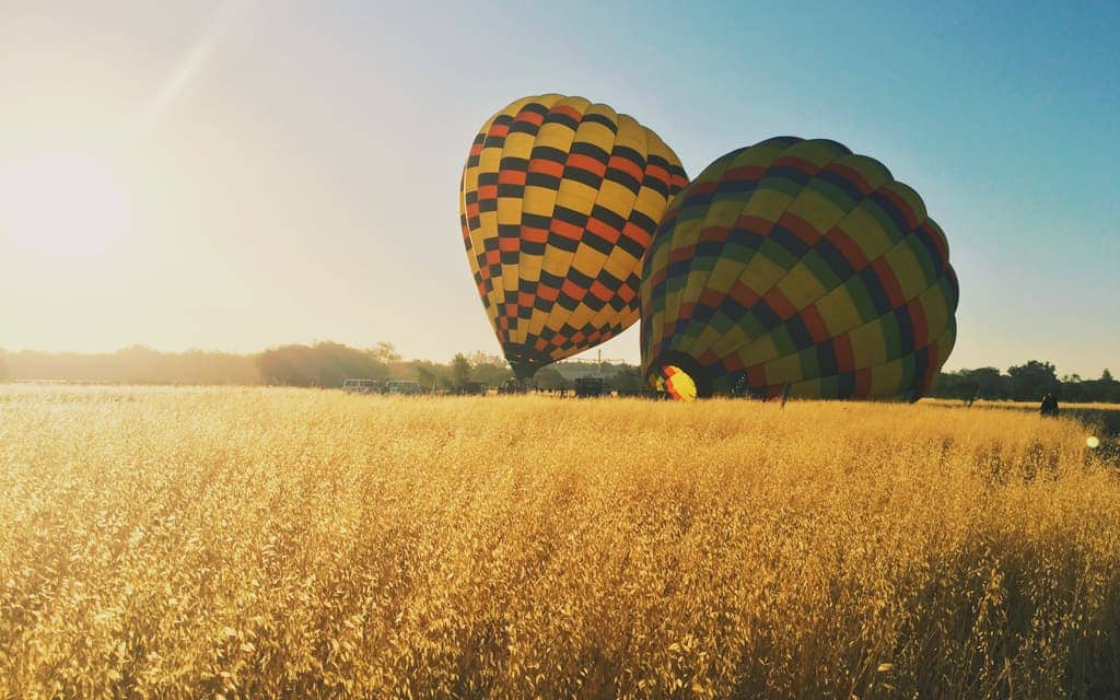Early morning hot air balloon ride over Napa Valley