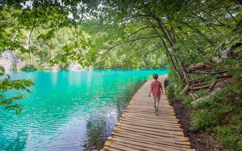 Travel with Kids: At Plitvice Lakes National Park in Croatia (7 years old)