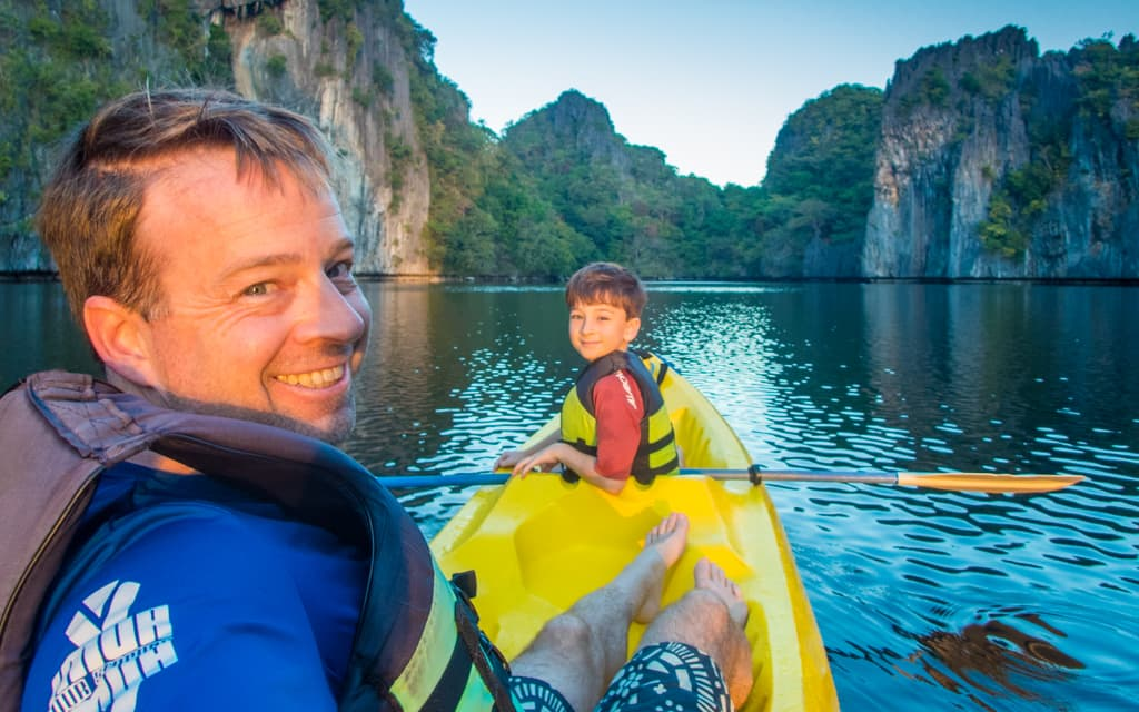 Travel with kids: Sunrise kayaking in Palawan, Philippines (8 years old)