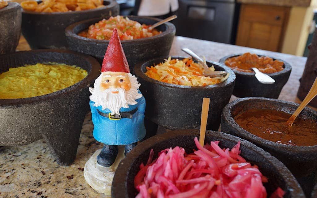 Roaming Gnome at taco bar at Puerto Los Cabos by Mike Shubic of MikesRoadTrip.com