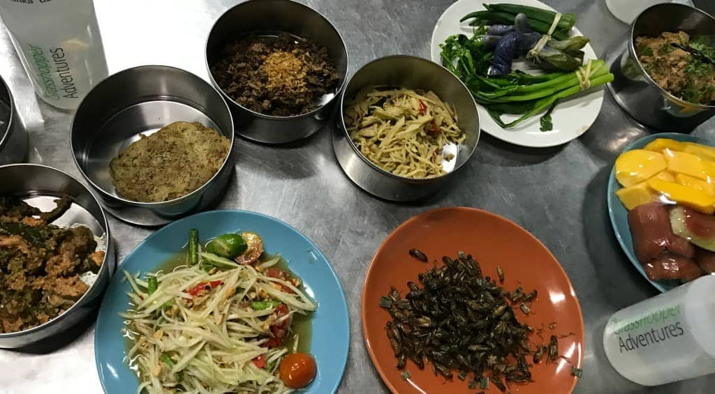 The feast we enjoyed during our bicycle food adventure tour in Chiang Mai, Thailand.