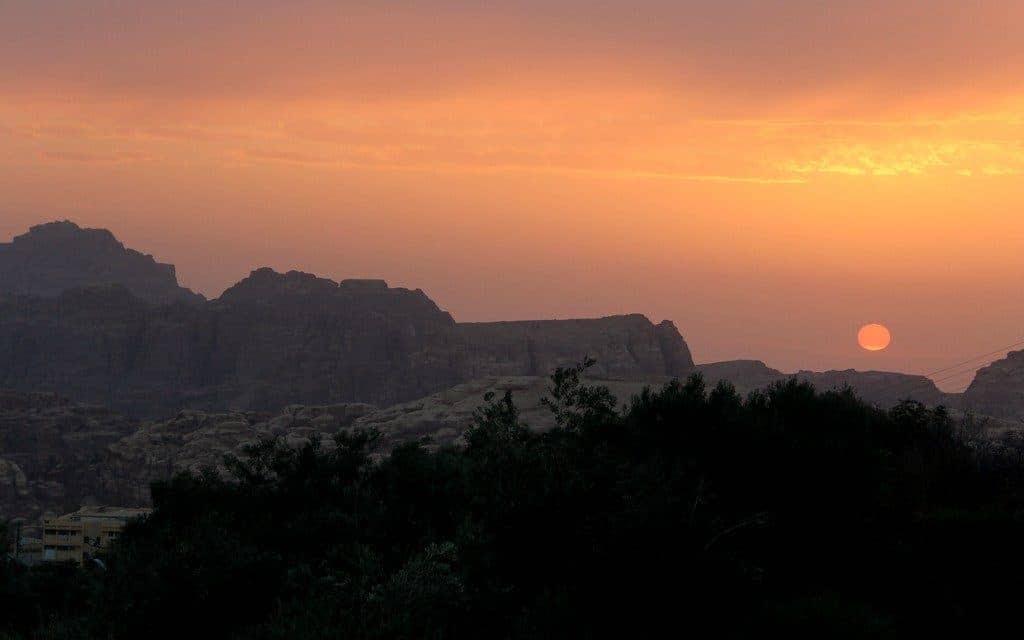 Petra Mountains at sunset