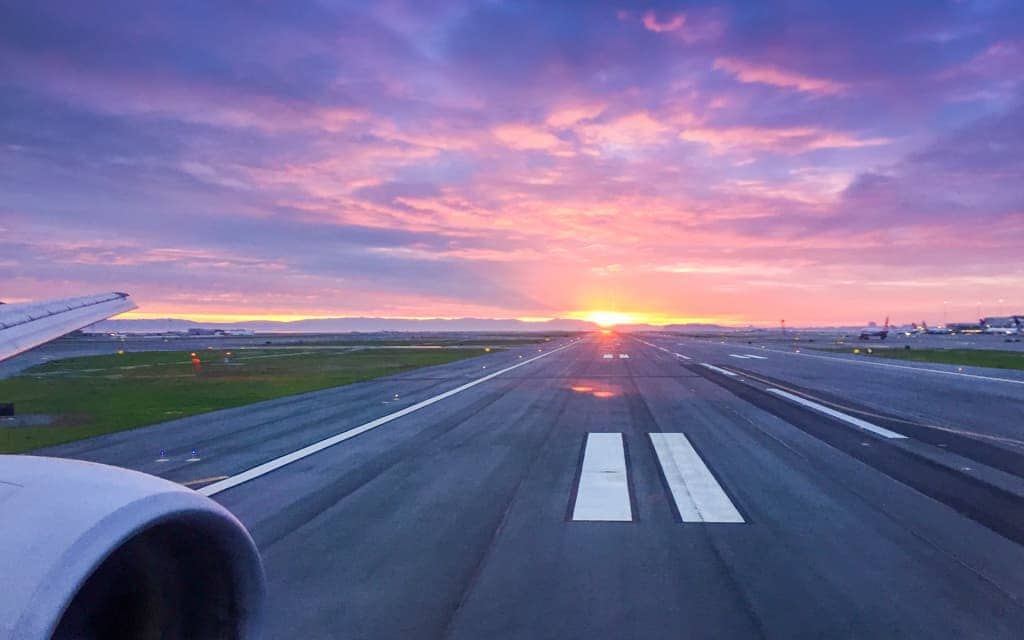 Airport tips: We frequently see the sunrise as we're taking off!