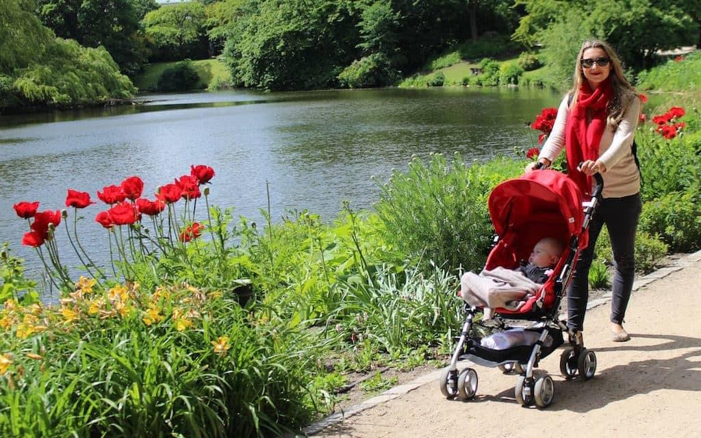 kid-friendly Copenhagen, family travel expert Julia Dimon with baby stroller