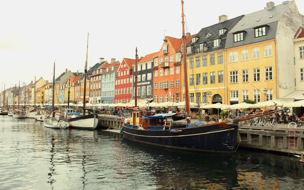kid-friendly Copenhagen, boats and colorful houses in Nyhavn