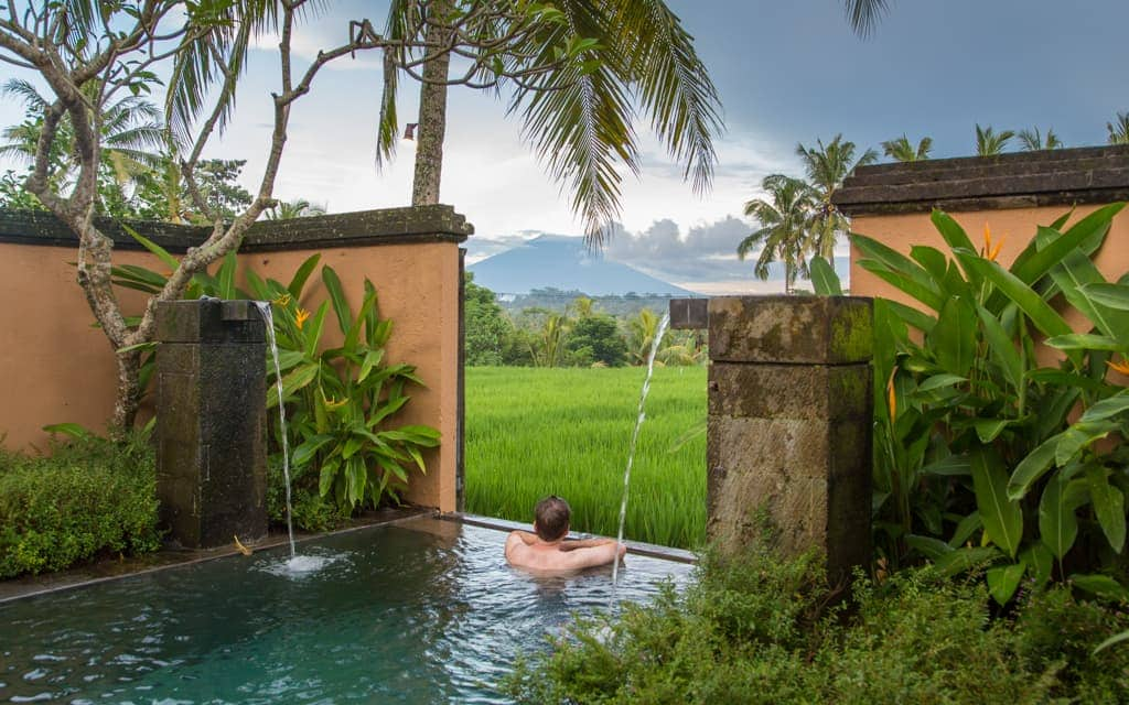 Best hotel views: Looking out at Mount Batur from our villa's plunge pool at Chedi Club Tanah Gajah