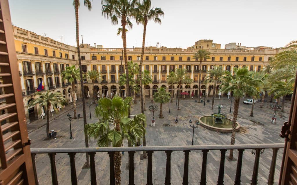 Best hotel views: My balcony at the Hotel DO Plaça Reial. The square comes alive at night!
