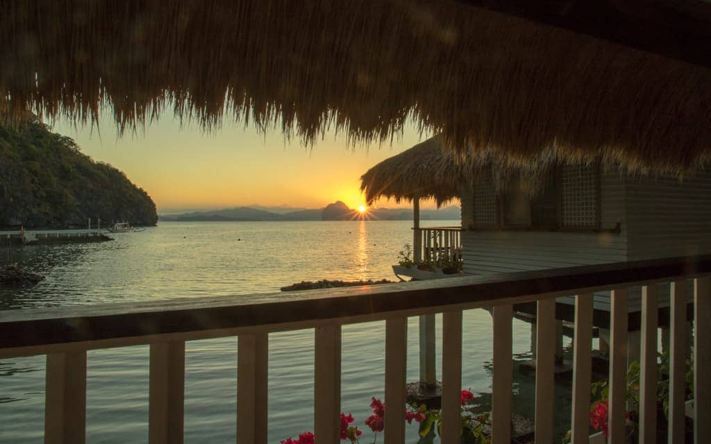 Best hotel views: Sunrise from our bungalow at Miniloc Island Resort