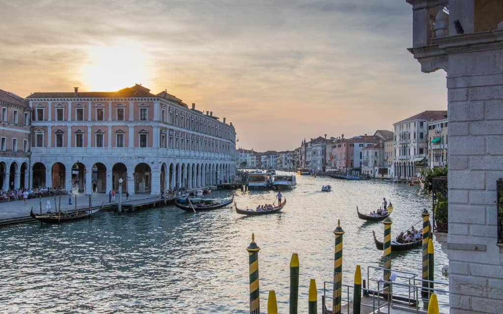 Best hotel views: Overlooking the Grand Canal in Venice from Hotel al Ponte Antico. The Rialto Bridge is right behind you.