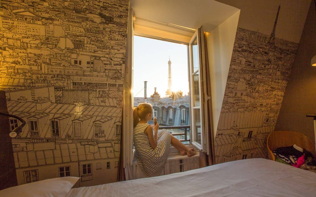 Best hotel views: Wherever you stay in Paris, ask for a view of the Eiffel Tower! This is from our room at the Cler Hotel in the 7th arrondissement.