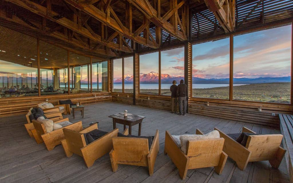 Best hotel views: Every room at Tierra Patagonia overlooks Torres del Paine, as does this open-air seating area