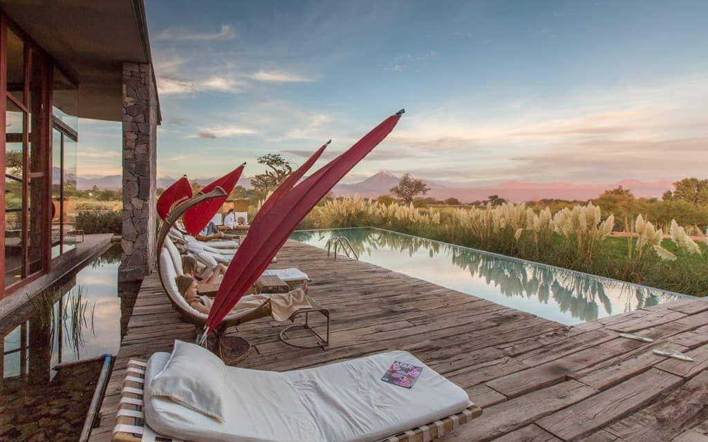 Best hotel views: I absolutely loved afternoons by the pool at Tierra Atacama, watching the setting sun light up the Licancabur volcano