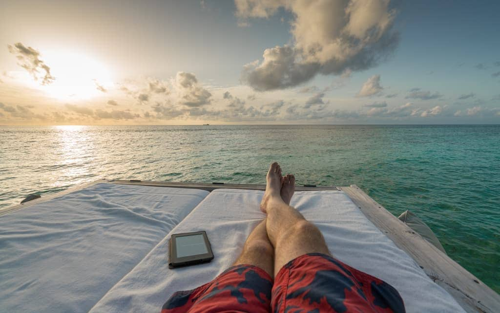 Best hotel views: Relaxing on the deck of our overwater villa at Six Senses Laamu