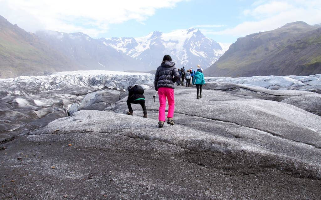 Iceland with kids - The Svinafellsjokull Glacier Tongue in Skaftafell National Park. Photo courtesy Mary Solio (The World Is A Book).