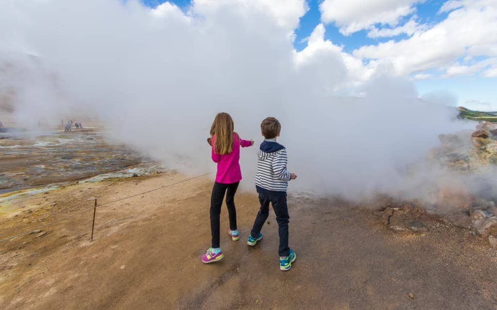 Iceland with kids - The fumaroles and sulphur pits of Hverir