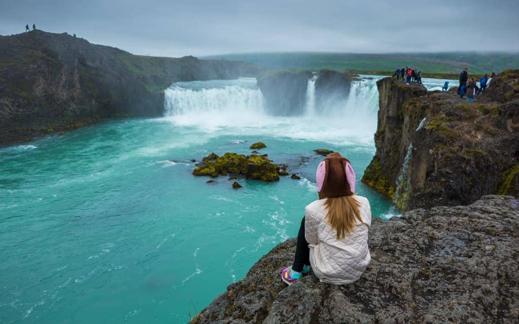Iceland with kids - Overlooking Godafoss