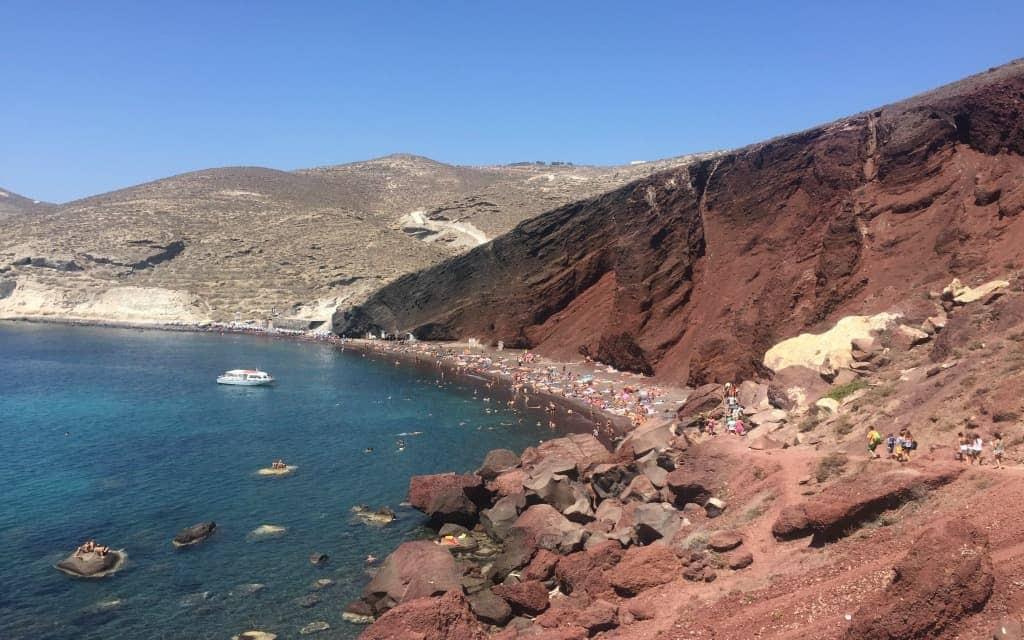 The Red Beach in Santorini Greece