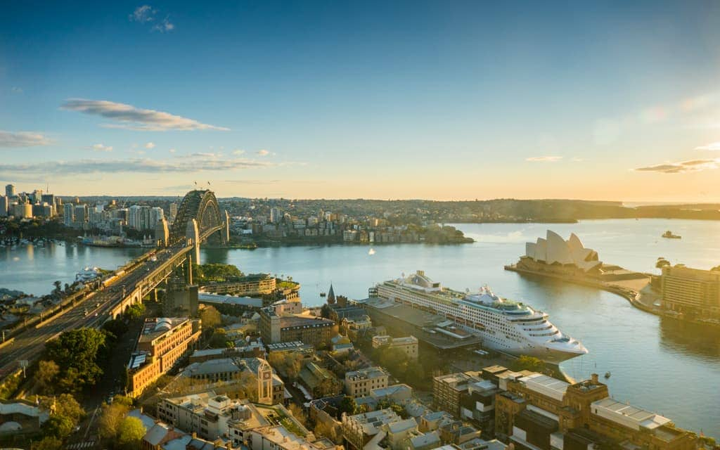 Bucket list cities: Sydney's Harbour Bridge and Opera House as seen from the Shangri-La Hotel