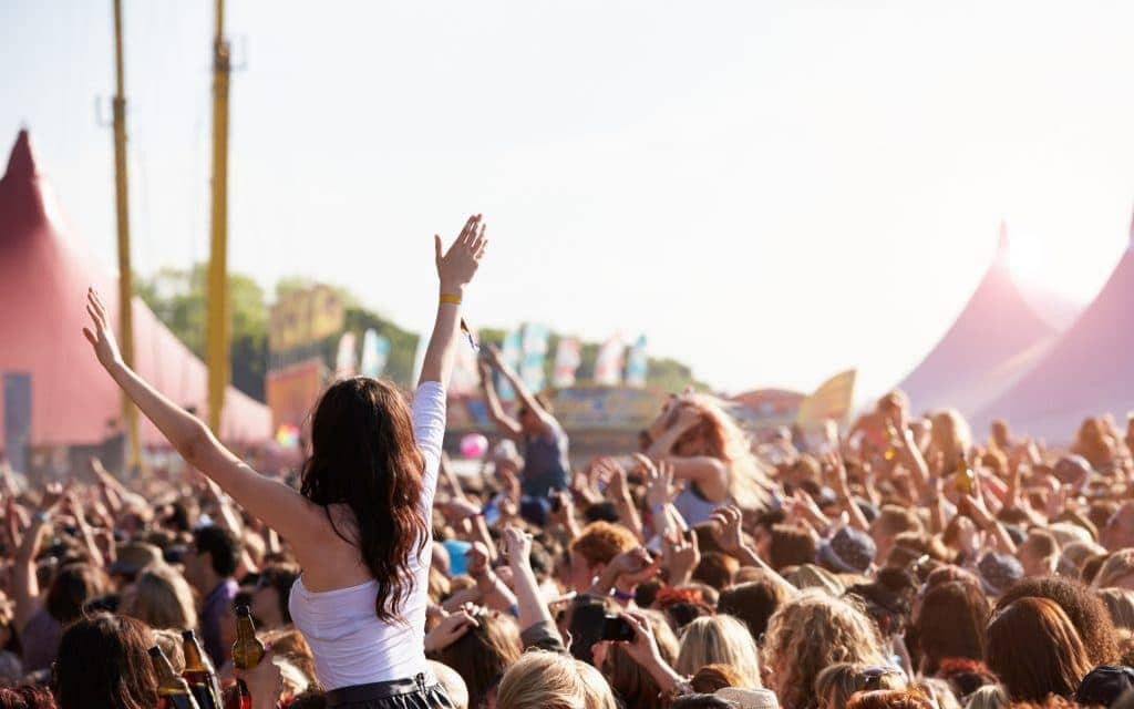 People with their arms in air at music festival