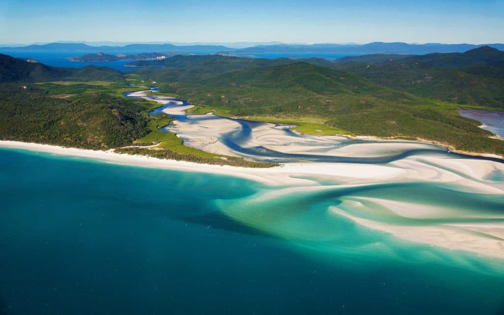 Whitehaven Beach and the Hill Inlet, on Whitsunday Island, QLD, Australia.