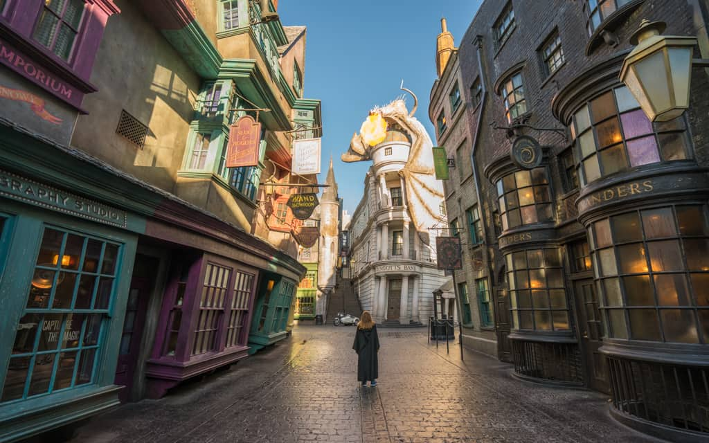 Family Travel 2018: Early morning in Diagon Alley at the Wizarding World of Harry Potter