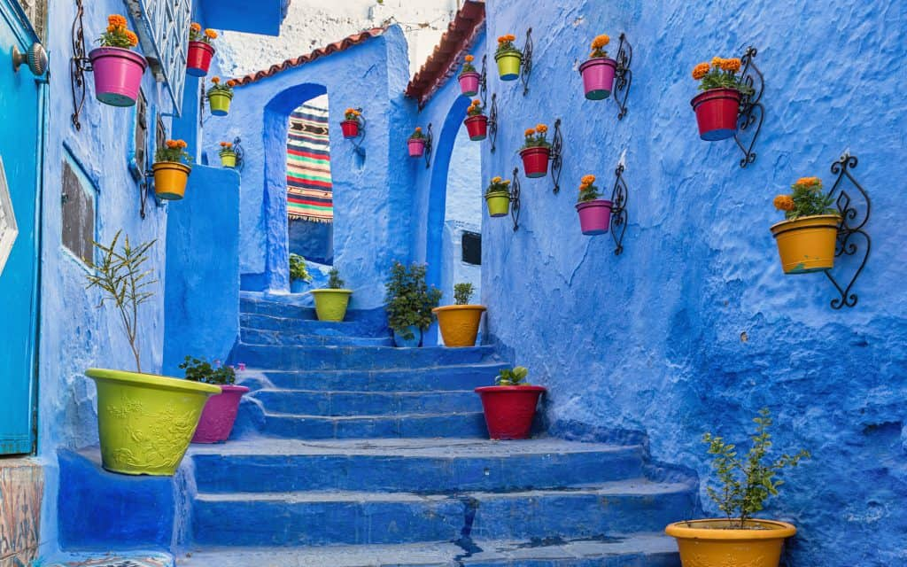 Blue coloured medina in Chefchaouen, Morocco.