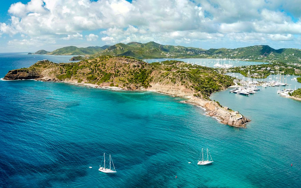 Drone photo of English Harbour, Antigua
