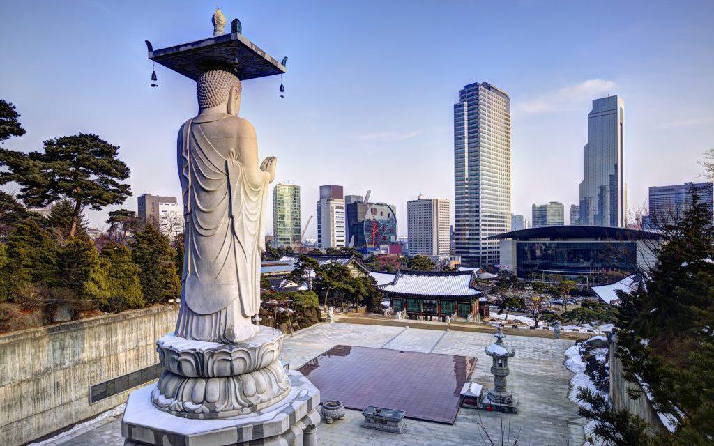 Skyline of downtown Seoul, South Korea from bongeunsa temple