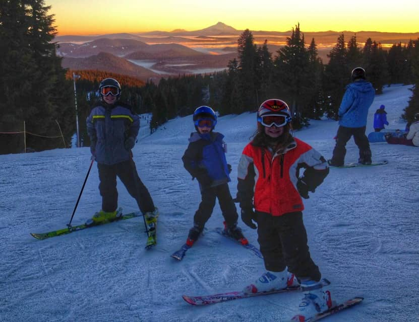 Catching a sunset while skiing at Mt. Hood Ski Bowl