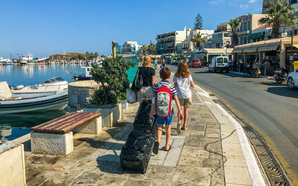 Packing tips: Walking to the ferry in Naxos, Greece in the middle of a month in Europe.