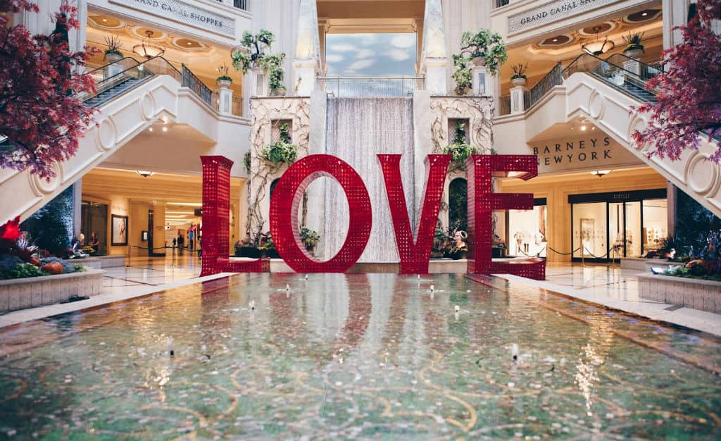 Love art installation inside the Venetian