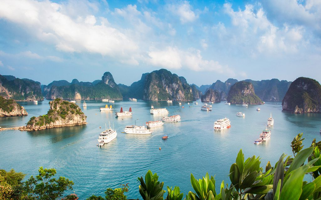 mountain view of halong bay in vietnam
