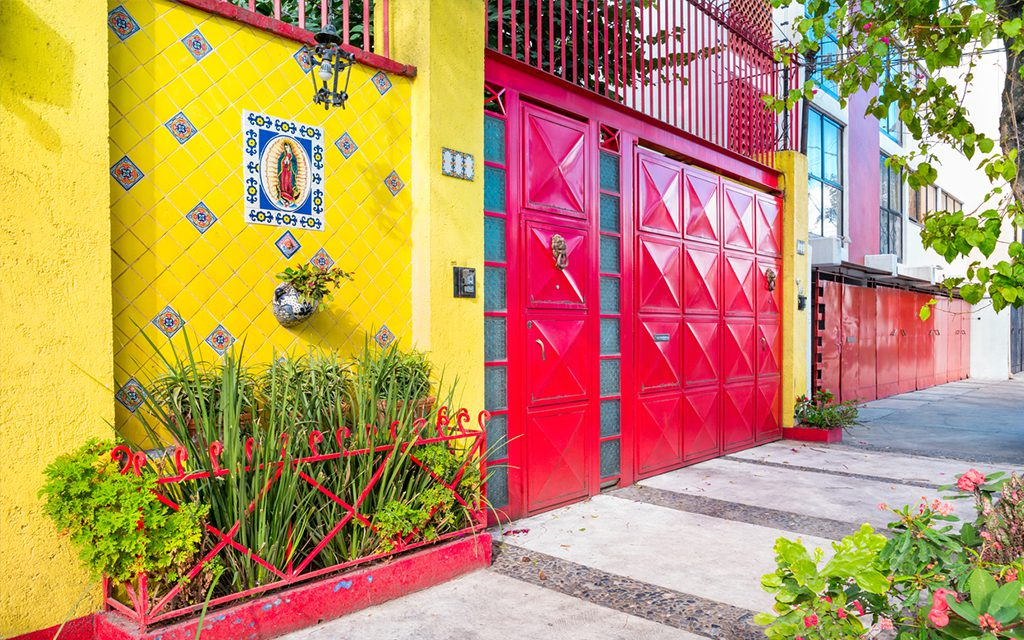 colorful street in mexico city