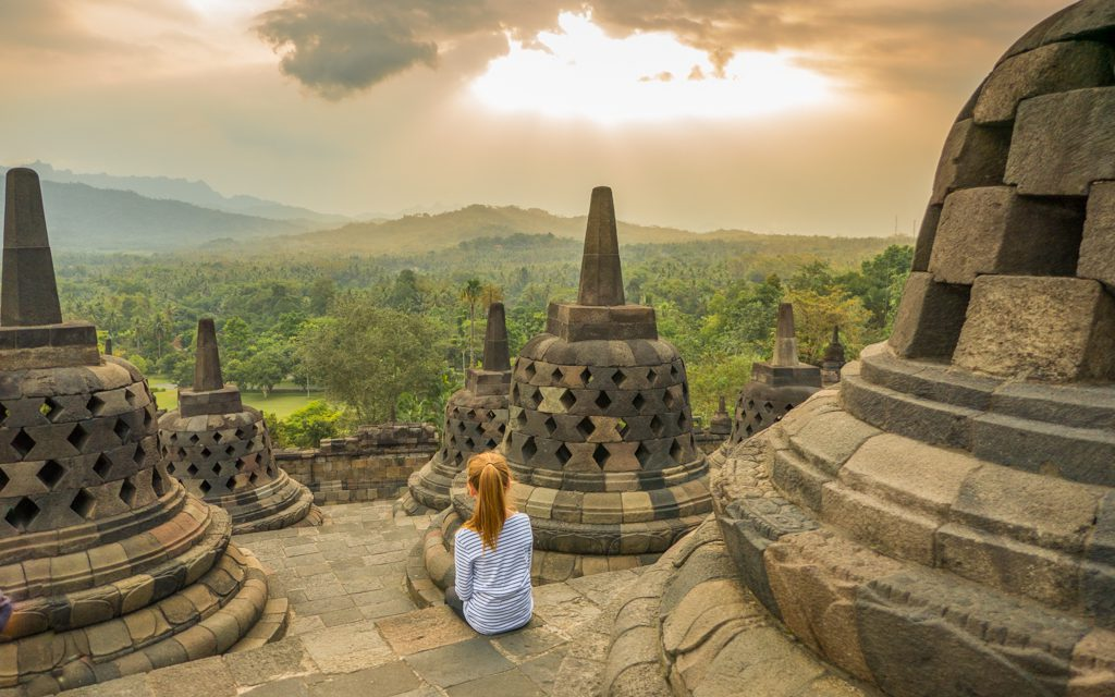 Around the world - At Indonesia's Borobudur Temple