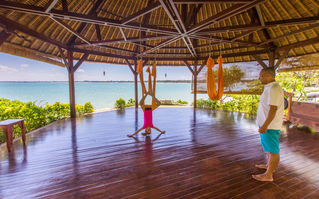 Around the world - My daughter's favorite activity in Bali? Anti-gravity yoga at Four Seasons Jimbaran Bay.