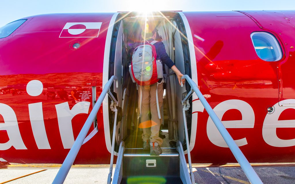 Around the world - Boarding one of our Air Greenland flights. If any of our flights from Greenland onward had been delayed, the consequences could have been serious.