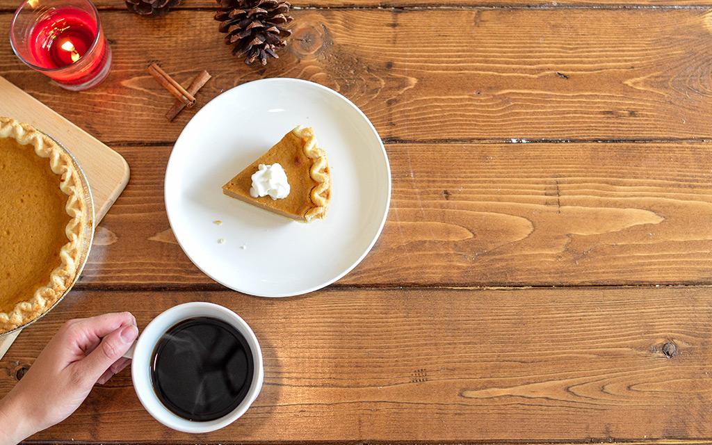 Pumpkin Pie with coffee