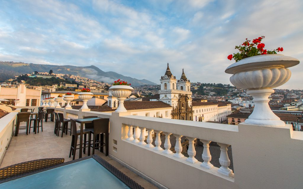 Best Big City Hotels - Overlooking Quito and the Iglesia de San Francisco from Casa Gangotena's rooftop patio