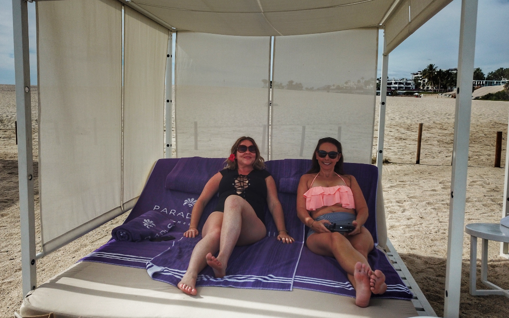 Lounging in a cabana in Cabo