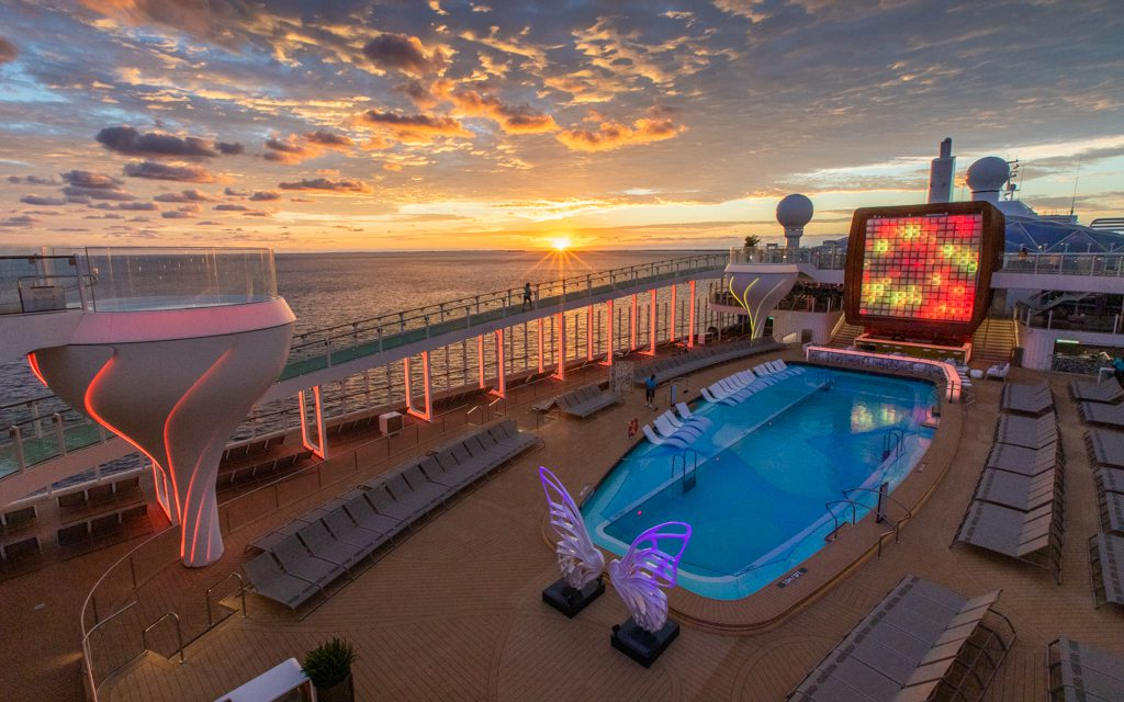 Where to travel in 2019 - The pool deck of the Celebrity Edge at sunrise